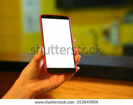 Mobile phone in the hands - stock photo