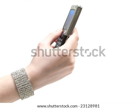 mobile phone in the woman hand
