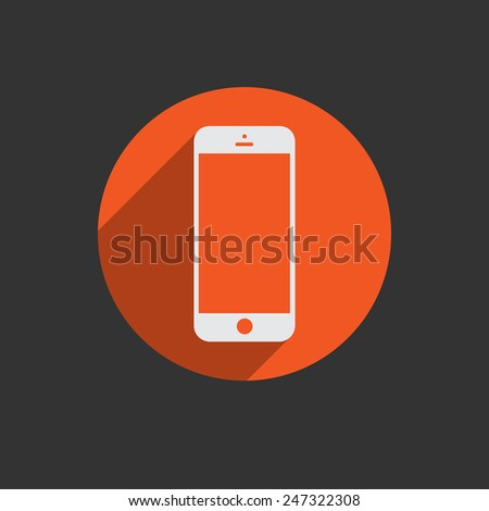 Mobile phone in white line with blank screen isolated on black background. Red button.  - stock photo