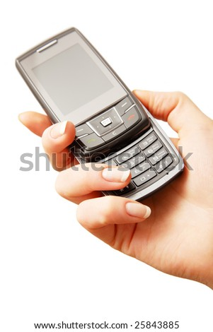 Mobile phone in woman hand. Isolated on white. Closeup.