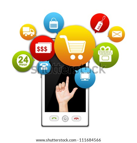 Mobile Phone Internet and Online Shopping Concept Present by White Smart Phone With Hand and Colorful E-Commerce Icon Above Isolate on White Background