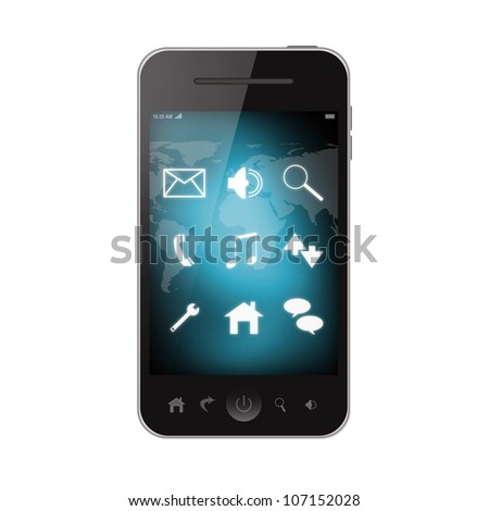 Mobile phone isolated on white background