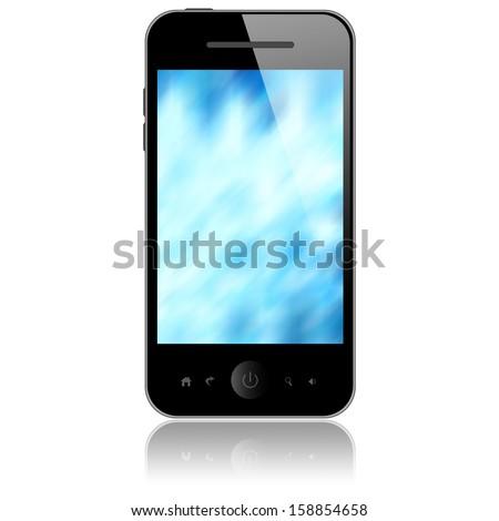 Mobile phone isolated on white background - stock photo