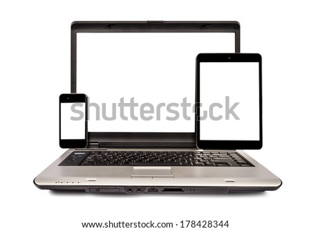Mobile Phone, Laptop and Tablet Isolated On White With Copy Space - stock photo