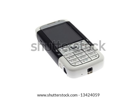 Mobile phone laying on a white background