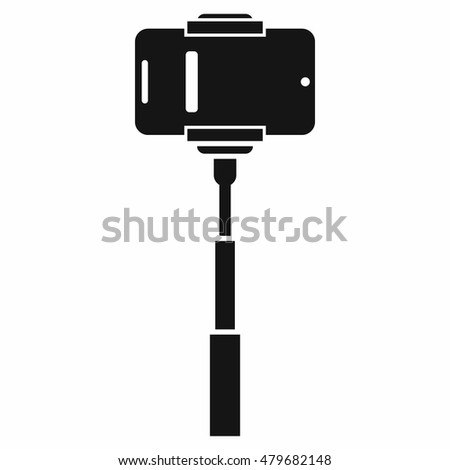 Mobile phone on a selfie stick icon in simple style isolated on white background. Device symbol
