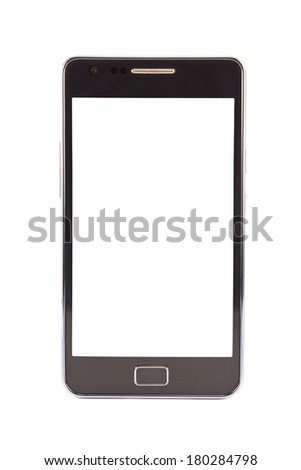 Mobile phone on a white background - stock photo