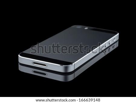 Mobile phone on black background - stock photo