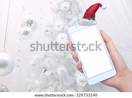 Mobile phone on the background. Mobile technology. Mobile photo. Insert text. Christmas holidays - stock photo
