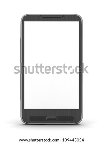 Mobile phone on white background - stock photo