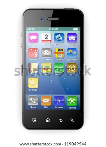 Mobile phone on white background. Three-dimensional image. 3d - stock photo