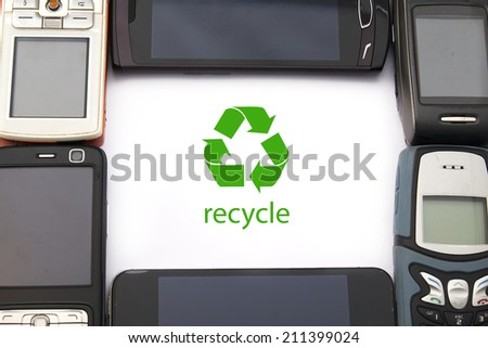 Mobile Phone Recycle - stock photo