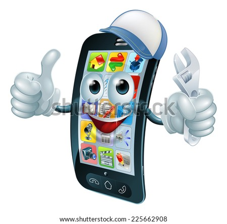 Mobile phone repair character with wrench or spanner giving thumbs up - stock photo