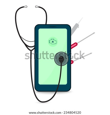 Mobile phone repair illustration with stethoscope, soldering iron and screwdriver