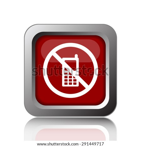 Mobile phone restricted icon. Internet button on white background