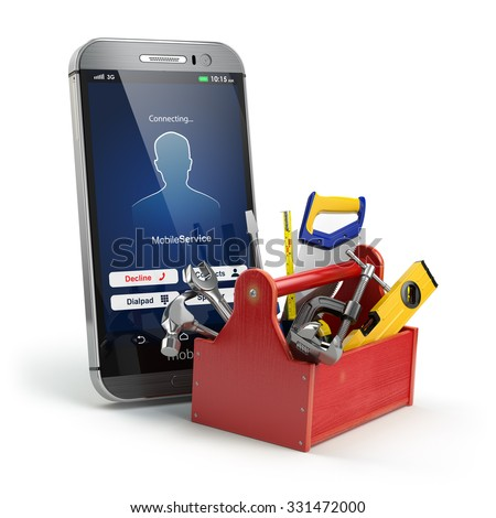 Mobile phone service concept. Online support. Smartphone  with toolbox and tools on white isolated background. 3d - stock photo