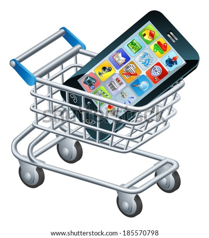 Mobile phone shopping cart, a concept for shopping for apps or a new mobile phone - stock photo