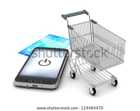 Mobile phone, shopping cart and credit card on white background - stock photo