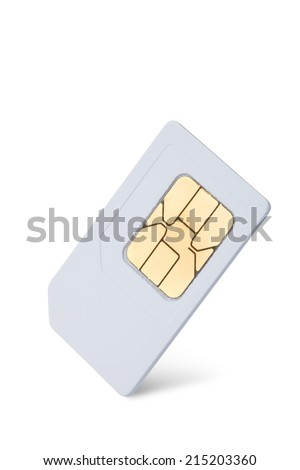 mobile phone sim card isolated on white - stock photo