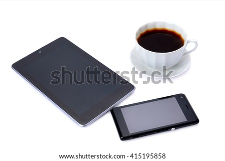 mobile phone, tablet and coffee cup isolated on white background