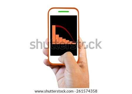 Mobile phone touch screen  graph fall - stock photo