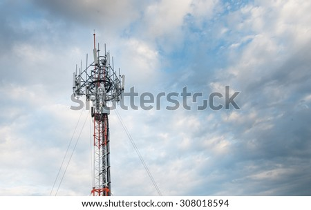 mobile phone tower on evening sky day