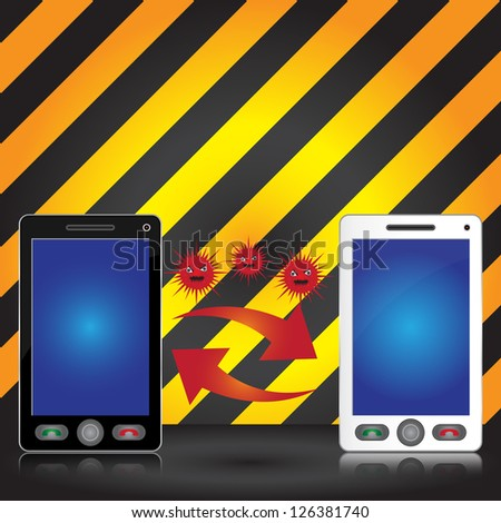 Mobile Phone Virus Concept Present By Black and White Smart Phone Transfer Red Virus With Some Space For Your Massage Above in Caution Zone Dark and Yellow Background - stock photo