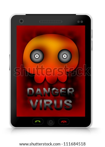 Mobile Phone Virus Concept Present By Black Smart Phone With Skull and Virus Alert on Screen Isolated on White Background - stock photo