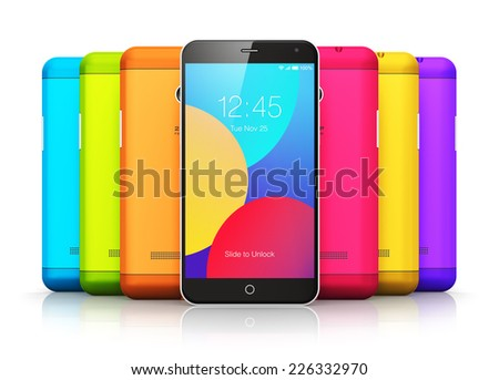 Mobile phone wireless communication technology and mobility business office concept: group of colorful modern glossy touchscreen smartphones with color plastic back covers isolated on white background - stock photo