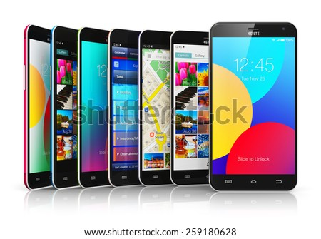 Mobile phone wireless communication technology and mobility business office concept: group of modern smartphones with colorful application interfaces with color icons and buttons isolated on white - stock photo