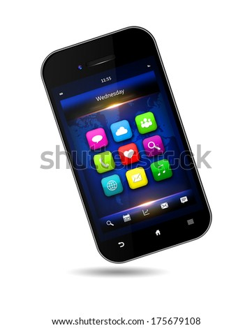 mobile phone with applications on  screen over white background