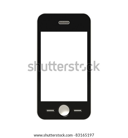 Mobile Phone with blank Screen for Copy Space. Isolated - stock photo