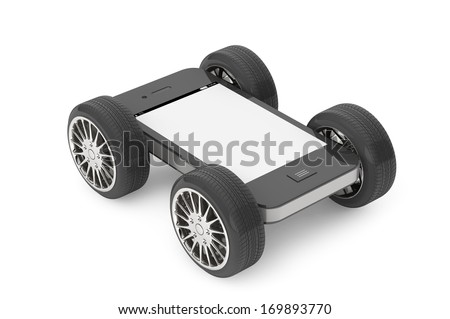 Mobile Phone with Blank Screen on Wheels on a white background - stock photo