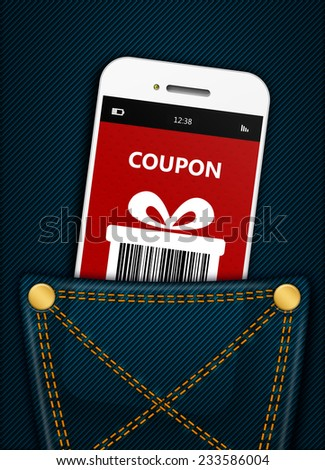 mobile phone with christmas coupon in jeans pocket - stock photo