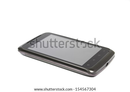 Mobile phone with clipping path on a white background. - stock photo
