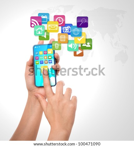 Mobile phone with colorful application icons - stock photo