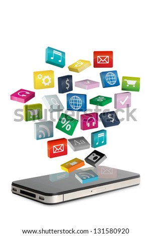 Mobile phone With colorful applications icon, isolated on white background