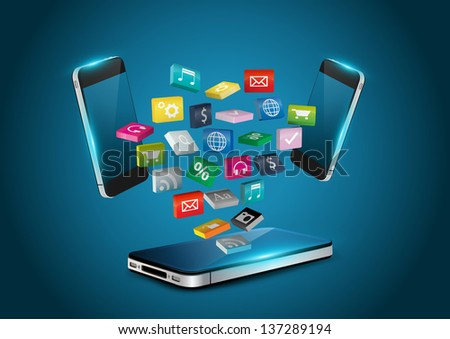 Mobile phone with colorful applications icons, business software and social media networking service concept