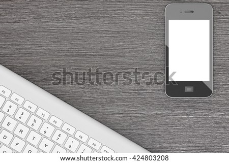 Mobile Phone with Computer Keyboard over Office desk table. 3d Rendering - stock photo