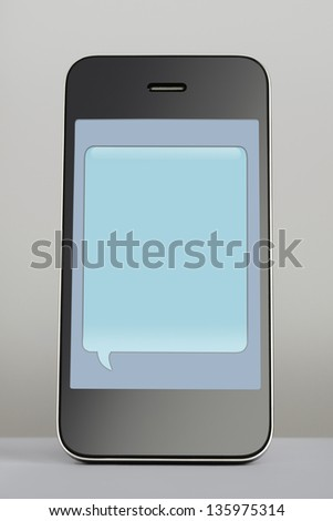 Mobile phone with empty text message speech bubble - stock photo