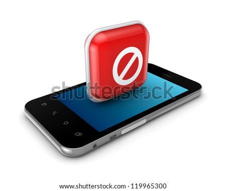 Mobile phone with icon of ban.Isolated on white background.3d rendered.