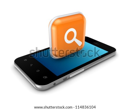 Mobile phone with icon of loupe.Isolated on white background.3d rendered.