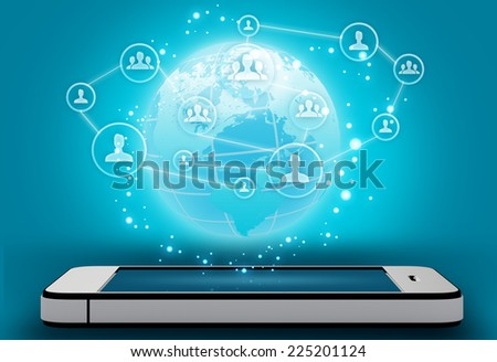 mobile phone with icons of icon of people and map - stock photo
