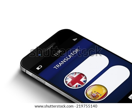 mobile phone with language translator application over white background - stock photo