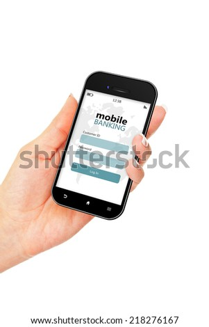 mobile phone with mobile banking log in page holded by hand isolated over white background