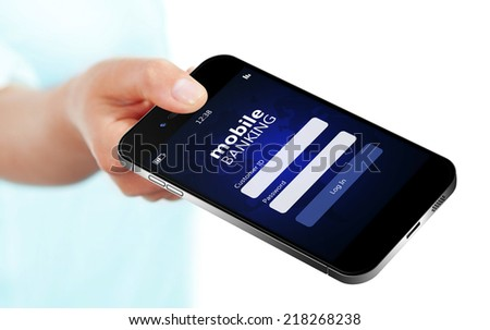 mobile phone with mobile banking login page holded by hand isolated over white background
