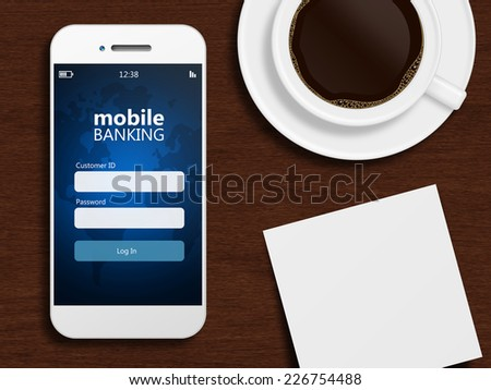 mobile phone with mobile banking page with mug of coffee and blank - stock photo