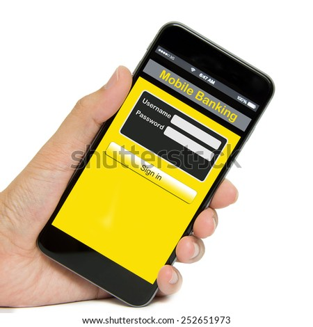 Mobile phone with mobile banking screen on white background