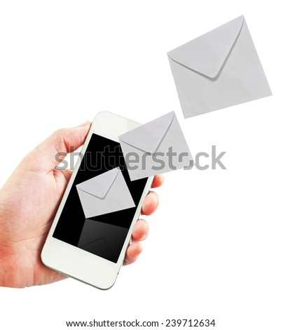 Mobile phone with new message received on white background. - stock photo