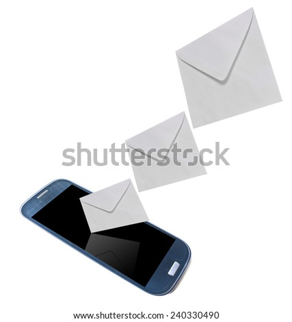 Mobile phone with new message received on white background.